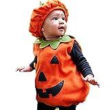 TMOYJPX Disfraz Halloween Bebe Niña Niño Calabaza Cremallera Monos / Sudadera con Capucha, Disfraces Halloween Niñas Recien Nacido (D~Chaleco+Sombrero, 0-6 meses)