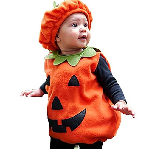 TMOYJPX Disfraz Halloween Bebe Niña Niño Calabaza Cremallera Monos / Sudadera con Capucha, Disfraces Halloween Niñas Recien Nacido (D~Chaleco+Sombrero, 6-12 meses)