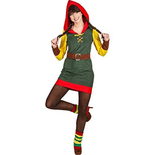 NET TOYS Hinreißendes Zwergen-Kostüm für Damen - Grün 38 (S) - Märchenhaftes Frauen-Outfit Weihnachts-Wichtel - Bestens geeignet für Fasching & Karneval
