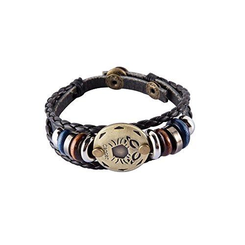 NovaLuna – Retro Sternzeichen Armband aus Braunem Kunstleder in Wickeloptik 'Golden Zodiac' mit Druckknopf-Verschluss – Herren Damen Unisex Armband Accessoire Schmuck in Gold Krebs