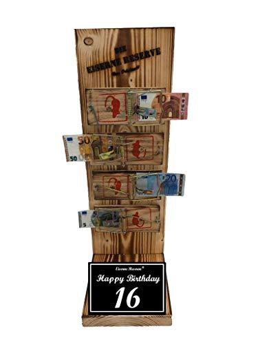 * Happy Birthday 16 Geburtstag - Eiserne Reserve ® Mausefalle Geldgeschenk - Die lustige Geschenkidee - Geld verschenken