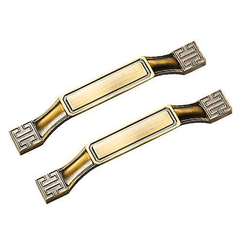 2 tiradores de armario estilo vintage, estilo retro, de aleación de zinc, para armarios, aparadores, hogar, cocina, dormitorio (6702-128-bronce amarillo)
