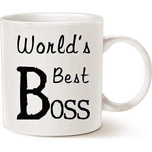 Regalos de Navidad World 'S Best Boss Funny Coffee Mug para Boss Day White, Work and Office Holiday o regalo de cumpleaños para Worlds Best Boss Male o Female Bosses, Manager