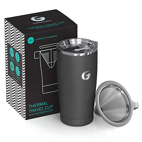 Pour Over Coffee Travel Mug - Coffee Gator all-in-one Travel Coffee Maker and Thermal Cup - Vacuum Insulated Stainless Steel Cup...