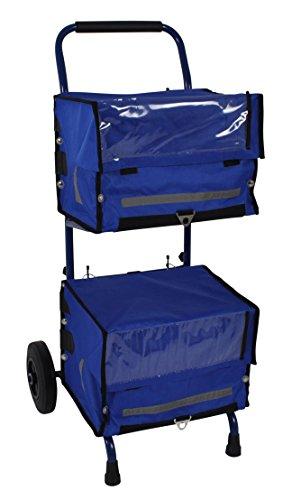 PAPERLINO Zeitungswagen mit 2 blauen Zeitungstaschen • Innenmaße der Zustelltaschen ca. 40x30x30 cm • Robuster Zeitungstrolley (Zeitungsroller) mit stabilem Stand • Zustellerbedarf