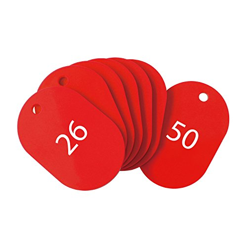 オープン工業 番号札 大 赤 25枚 26-50番 セット BF-51-RD