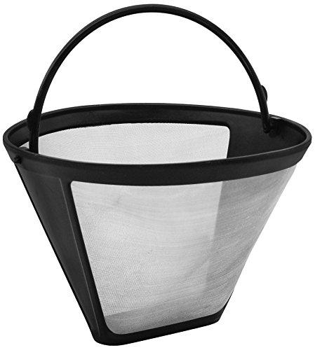 Fackelmann Silberton Dauerkaffeefilter Nr. 4, Permanent Filter aus Edelstahlgewebe - für Kaffee & als Teesieb verwendbar (Farbe: Silber/Schwarz), Menge: 1 Stück