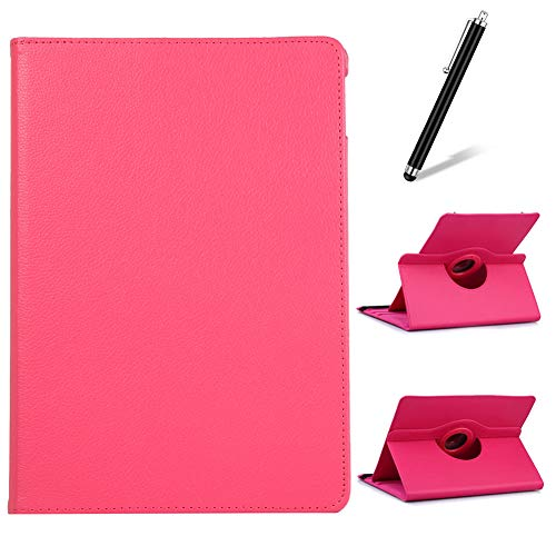 Artfeel Cover per Samsung Galaxy Tab E 9.6 T560,Girevole 360 Gradi di Rotazione Supporto Custodia,Visualizzazione Multi-Angolo Sottile Leggero PU Pelle Flip Cover,Rosa Rossa