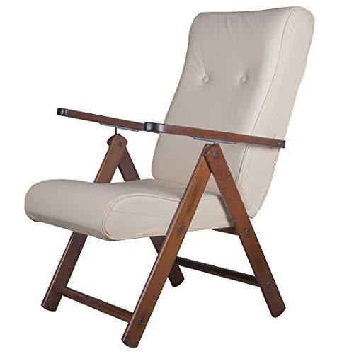 Totò Piccinni Poltrona Sedia Sdraio MOLISANA Lusso in Legno reclinabile 4 Posizioni (Ecopelle Beige)