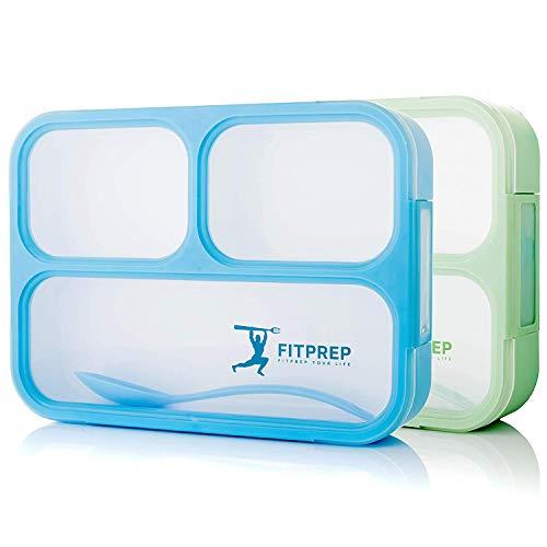 FITPREP® Lunchbox Set - tolles 2er Set- 3 Fächer BPA frei- Dicht - Brotdose für Schulkinder & Erwachsene - inkl. schönem Rezeptheft