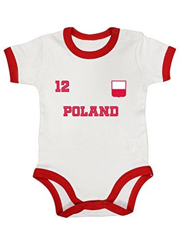 Shirt Happenz Polen Weltmeisterschaft 2018#24 Premium Ringer Babybody Fan Trikot Fußball Weltmeisterschaft Nationalmannschaft Kurzarmbody, Farbe:Weiß Rot (White Red BZ19);Größe:3-6 Monate