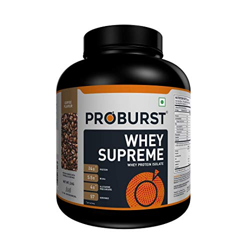 Proburst Supreme Whey Protein Powder With Glutamine & BCAAs 2 Kg |57 Servings | 24 gm Protein Per Serving -Coffee