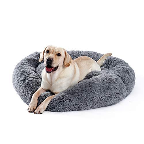 Umi Amazon Brand Hundebett Plüsch weich warm Donut Haustierbett für Hund Flauschiges kuscheliges Schlafbett Multi-Size-Haustier Sofa für große Hunde maschinenwaschbar grau XL