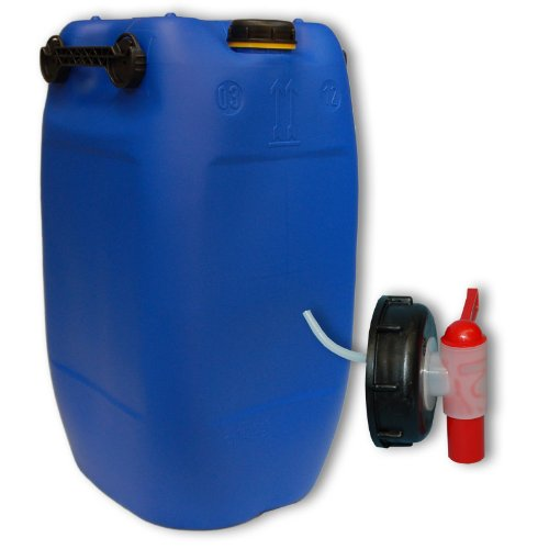 Wilai 60L Getränke- Wasserkanister Blau mit Schraubdeckel + Hahn (DIN 71) | Lebensmittelecht | Tragbar mit 3 Griffen | Indoor und Outdoor | BPA Frei | Made in Germany [^.^]