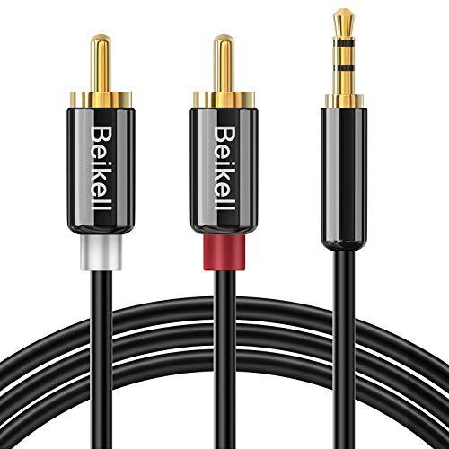 Beikell Cable Audio RCA 2M, Cable Jack 3.5mm a 2 RCA Estéreo Macho Macho con Conectores Metálicos para Smartphones, MP3, Tablets, Cine en Casa, Sistema HiFi y Más Dispositivo con Conectores RCA