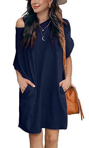 Damen Schulterfrei Pullover Kleid A-Linie Lose Kurzarm Tunika Kleid Mit Tasche (M, Einfarbig-Dunkelblau)