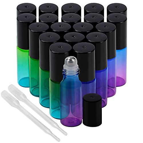 Belle Vous Roll On Flasche Leer (20 Stk) - 5ml Glasflaschen zum Befüllen Bunt Blau & Grün mit Edelstahl Roller für Ätherisches Öl, Parfüm, Lippenstifthülsen, Duftproben – Inklusive Tropfer Pipette