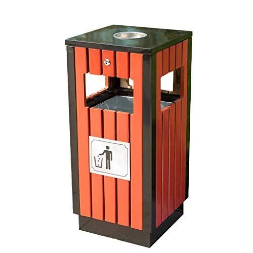 Bacs à ordures extérieurs Déchets et recyclage Grande poubelle rectangulaire en métal pour plein air/jardin/école/rue, poubelle grande capacité avec seau intérieur en acier inoxydable Bacs à ord
