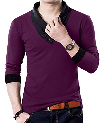 YTD 100% Cotton Mens Casual V-Neck Button Slim Muscle Tops Tee Long Sleeve T-Shirts (Large, Long Sleeve Wine Red)