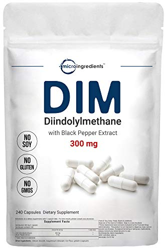Micro Ingredients DIM Active Supplement, DIM 300mg, 240 Capsules (240 Count (Pack of 1))