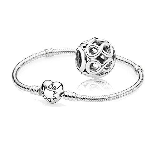Pandora Original Geschenkset - 1 Silber Armband 590719-21 mit Herz Schließe + 1 Silber Charm 791872 Unendlichkeit