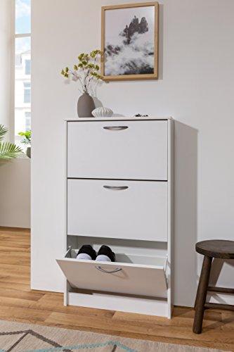 Inter Trade Corporation Schuhschrank Weiss | schmal | 3 Klappen für bis zu 9 Paar Schuhe | bis Schuhgröße 42 cm inkl. Wandmontagematerial One Size
