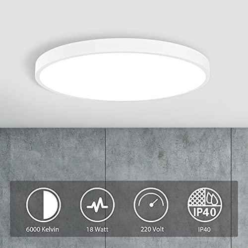 Lámpara de techo LED, 18 W, 6000 K, lámpara de techo para salón, dormitorio, cocina, habitación de los niños, pasillo, balcón, comedor, 30 cm...