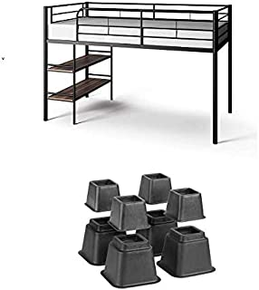 Mainstays Beckett Kids Metal Twin Loft Bed with Open Book Shelf with Risers (Black)