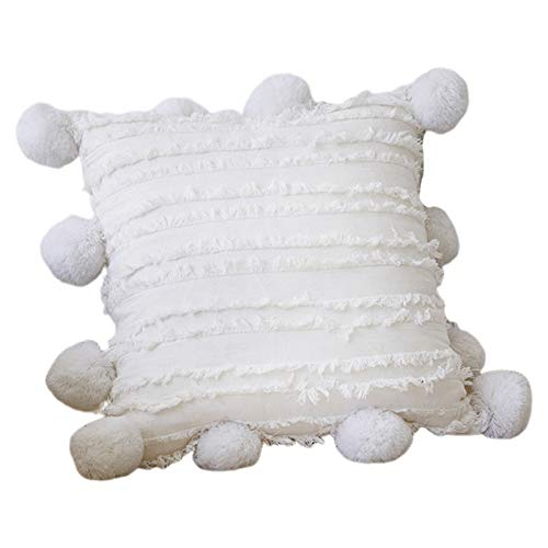 gszfsm001 - Funda de almohada de color liso nórdico con flecos de rayas y diseño de jacquard
