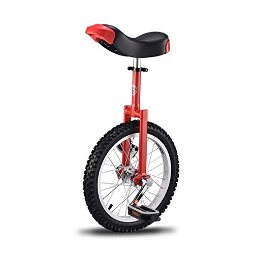 Niguleser Unicycle, 16' Wheel Trainer Unicycle, 2.125' Skidproof Butyl Mountain Tire, Adjustable seat Height, Children Adult Balance Cycling Exercise,Red