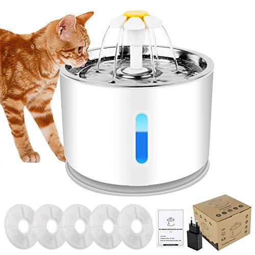 Forever Speed 2.4L Trinkbrunnen Haustier Katzenbrunne rutschfest Automatisch Katze Wasserspender mit LED Nachtlicht 5 Aktivkohlefilter