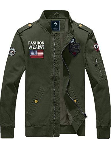GEMYSE Hombres Chaqueta Estilo Militar Casual de Algodón Ligero Chaquetas Bomber Piloto