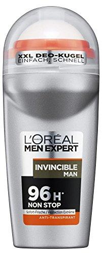 L'Oréal Men Expert Deo Roll-On, Invincible Man 96H Schutz, Sport Deo für Männer kontrolliert Trockenheit und Körpergeruch (6 x 50 ml)