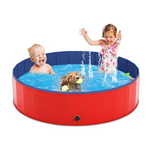 Pantula Plastic Rigid Dog Paddling Pool - 160×30CM Large Dog Pools - Portable PVC Dog Swimming Pool - Pet Puppy Kids Dog Bath Tub Pool