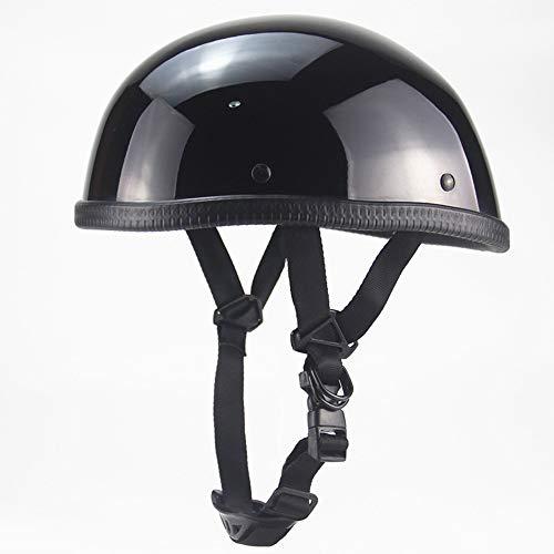 Sanhai Motorcycle Open Helmet DOT Approved Retro Motorcycle Decoration Lightweight Half Helmet Quick Release Buckle,Bright Black,XL