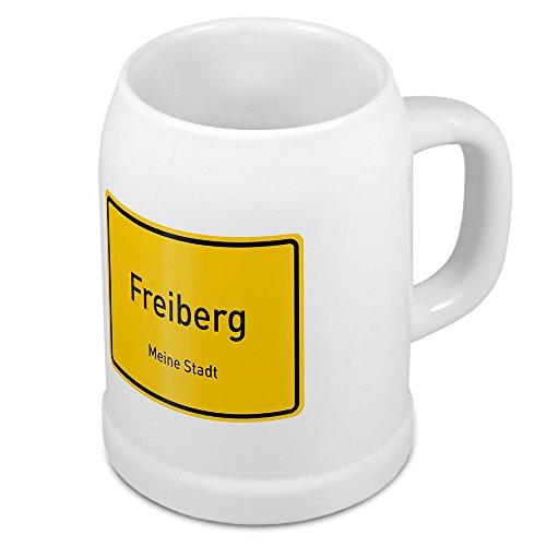 Bierkrug mit Stadtnamen Freiberg - Design Ortschild - Städte-Tasse, Becher, Maßkrug