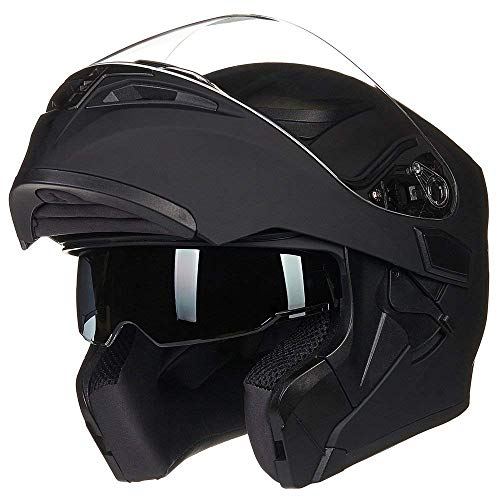 Helm für Motorräder Full-Face Motorcycle Helmet Tragbarer Integralhelme Flip-up Motorradhelm Zertifizierung von ECE DOT (XXL, Matt schwarz)