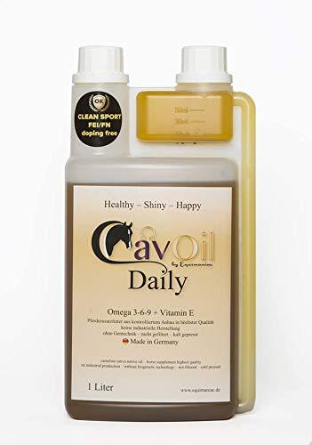 CavOil Daily, Premium Öl für Pferde, Leindotteröl, Vitamin 3-6-9, Vitamin E, rein biologisch,ohne Zusätze, Made in Germany, 1 Liter