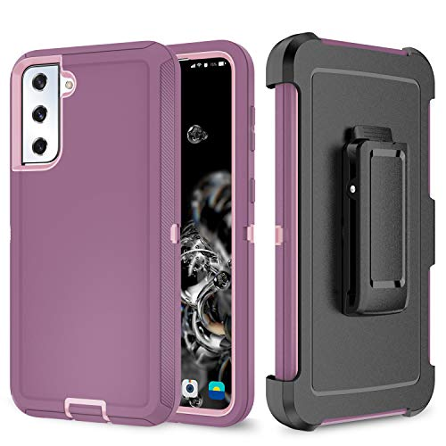 Szfirstey Case with Belt-Clip Holster for Galaxy S20 FE , Drop Full Body Rugged Shock Dust Proof 3-Layer Military Protective Tough Phone Cover Heavy Duty for Galaxy S20 FE( Purple Red/Light Pink)