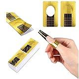 Rotolo Cartine Oro 100 Pezzi Nail Art Per Ricostruzione Allungamento Sagome per Unghie,Extension model for professional UV gel nail (100 Pezzi)