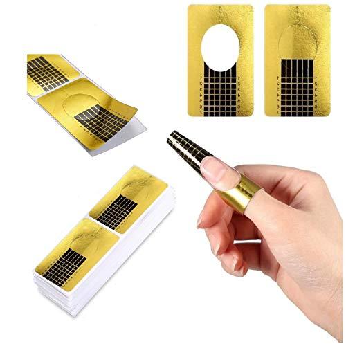 100 hojas oro Bandeja de papel de manicura: Necesario para la extensión de uñas Plantilla de bandeja de papel de Moldes Guías Pegatinas Formas UV Gel