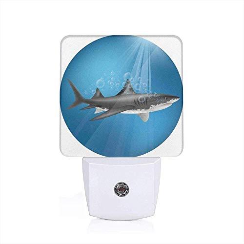 Decoratieve zeedieren haai aan zee met zonnestralen in cirkel watercirkel decoratie huis compleet blauw grijs slaapkamer zacht licht nachtlampje EU_wit
