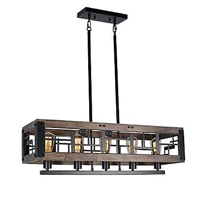 Beuhouz Farmhouse Wood Chandelier for Dining Room, Rectangle Rustic Kitchen Island Chandelier Light Fixture Black Metal Cage Industrial Billiard Room Pendant Light 5 Lights Edison E26 BH18051