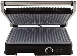 Oster Extra Large Titanium-Infused DuraCeramic Panini Maker and Indoor Grill, Black (CKSTPM6001-TECO)