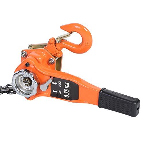 AYNEFY Polipasto con trinquete, cadena de mano, 0,75 t, color naranja, bloque de cadena...