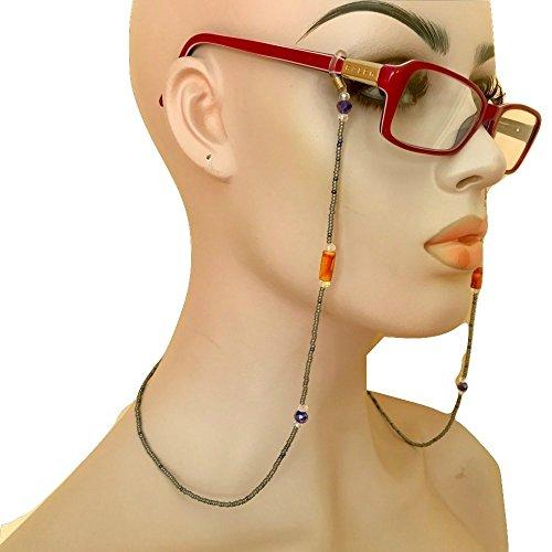 Grey Purple Brown Beaded Eyeglass Chain Holder Handmade