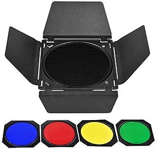 Godox BD-04 Barn Door & Honeycomb Grid &4 Color Gel Filters Compatible for Standard Reflectors Accessories kit