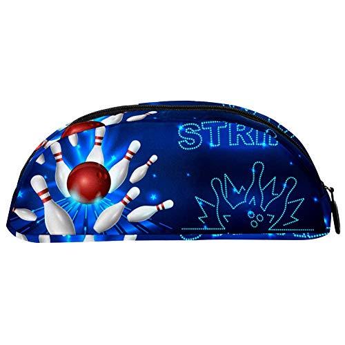 TIZORAX Bowling Strike Federmäppchen Beutel Schreibwaren Stiftebox Kosmetiktasche für Teenager Mädchen Jungen Kinder