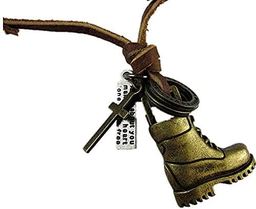 NC110 Collar con Colgante de aleación de Cuero de Vaca, Zapatos para Hombres y Mujeres, Moda Retro, suéter Largo, Cadena, Regalo de joyería, Oro YUAHJIGE