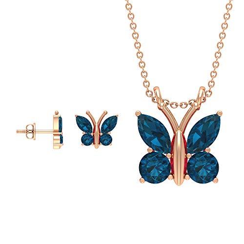 Rosec Jewels 18 quilates oro rosa marquesa redonda Blue Topacio azul - Londres
